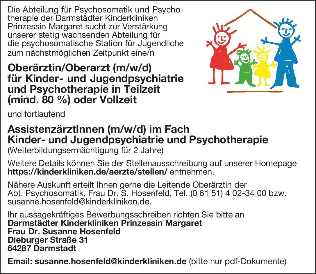 Darmstädter Kinderkliniken Prinzessin Margaret Oberärztin/Oberarzt (m/w/d) für Kinder- und Jugendpsychiatrie und Psychotherapie Kinder- und Jugendpsychiatrie und -psychotherapie Oberarzt