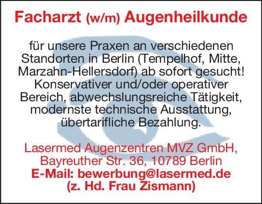 Lasermed Augenzentren MVZ GmbH Facharzt (w/m) Augenheilkunde Augenheilkunde Arzt / Facharzt