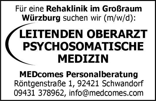 MEDcomes Personalberatung Leitender Oberarzt Psychosomatische Medizin Psychosomatische Medizin und Psychotherapie Oberarzt