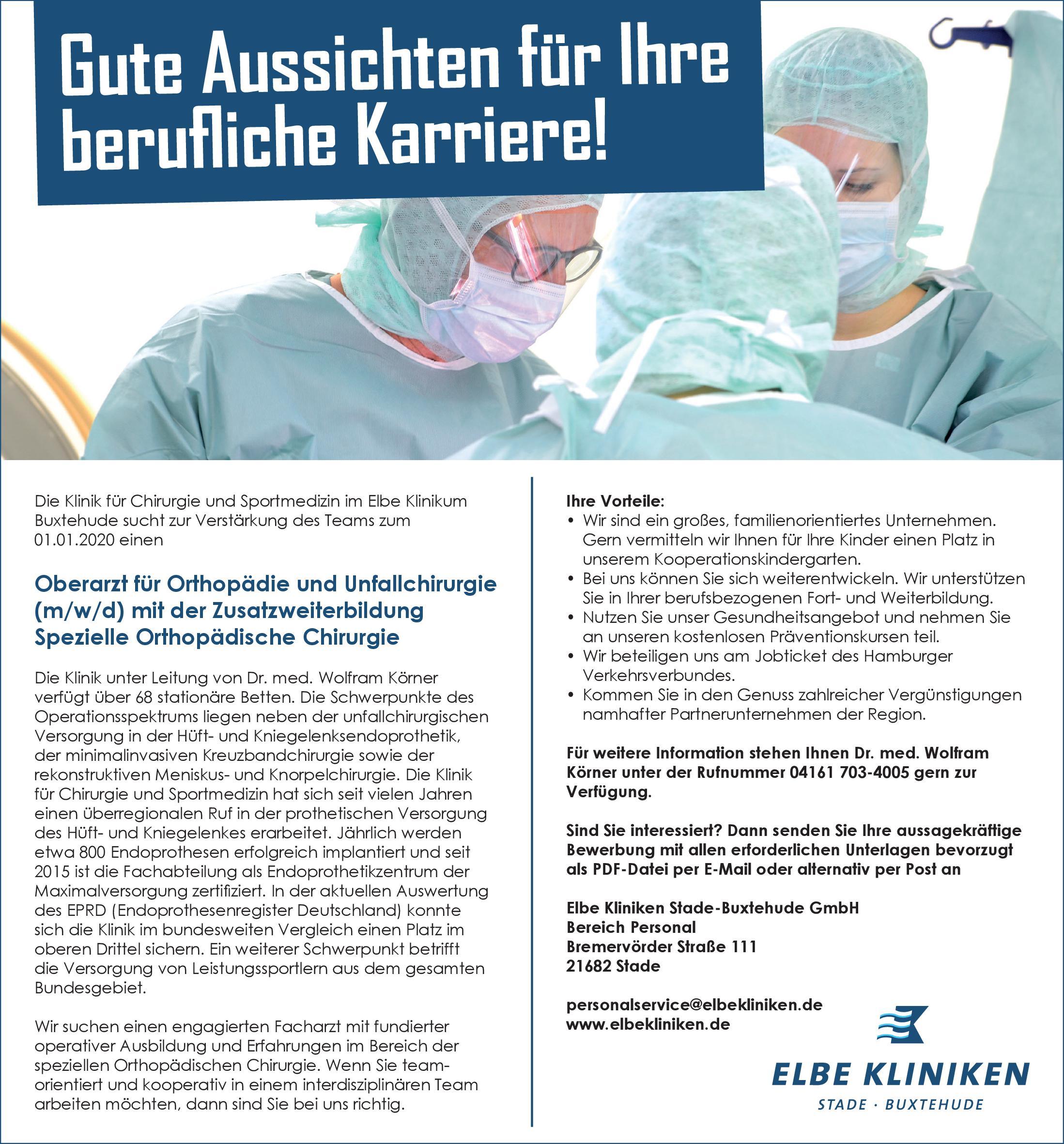 Elbe Kliniken Stade-Buxtehude GmbH Oberarzt für Orthopädie und Unfallchirurgie (m/w/d) mit der Zusatzweiterbildung Spezielle Orthopädische Chirurgie  Orthopädie und Unfallchirurgie, Chirurgie Oberarzt