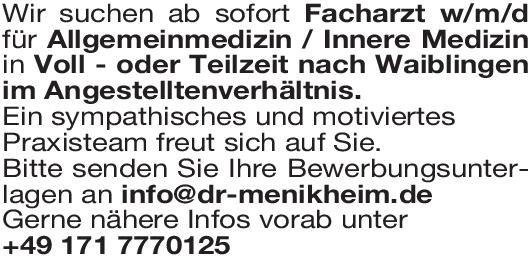 Praxis Facharzt w/m/d  Allg.med. / Innere Med. Allgemeinmedizin, Innere Medizin Arzt / Facharzt