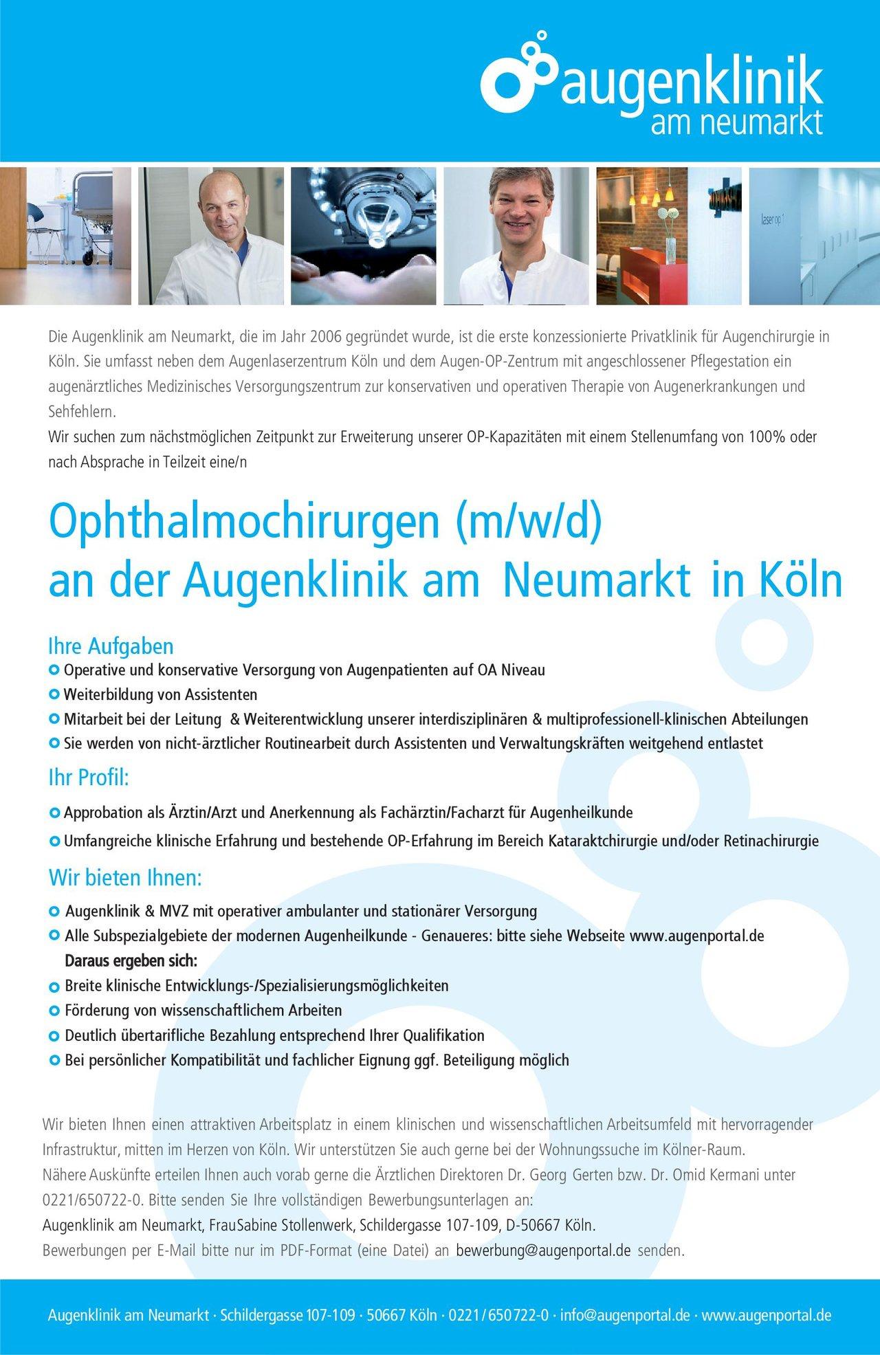 Augenklinik am Neumarkt Ophthalmochirurgen (m/w/d) Augenheilkunde Arzt / Facharzt