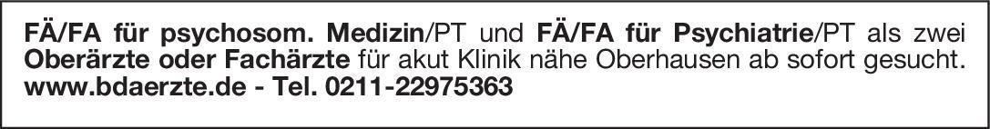 Akutklinik FÄ/FA für psychosom. Medizin/PT als Oberarzt oder Facharzt Psychosomatische Medizin und Psychotherapie Arzt / Facharzt, Oberarzt