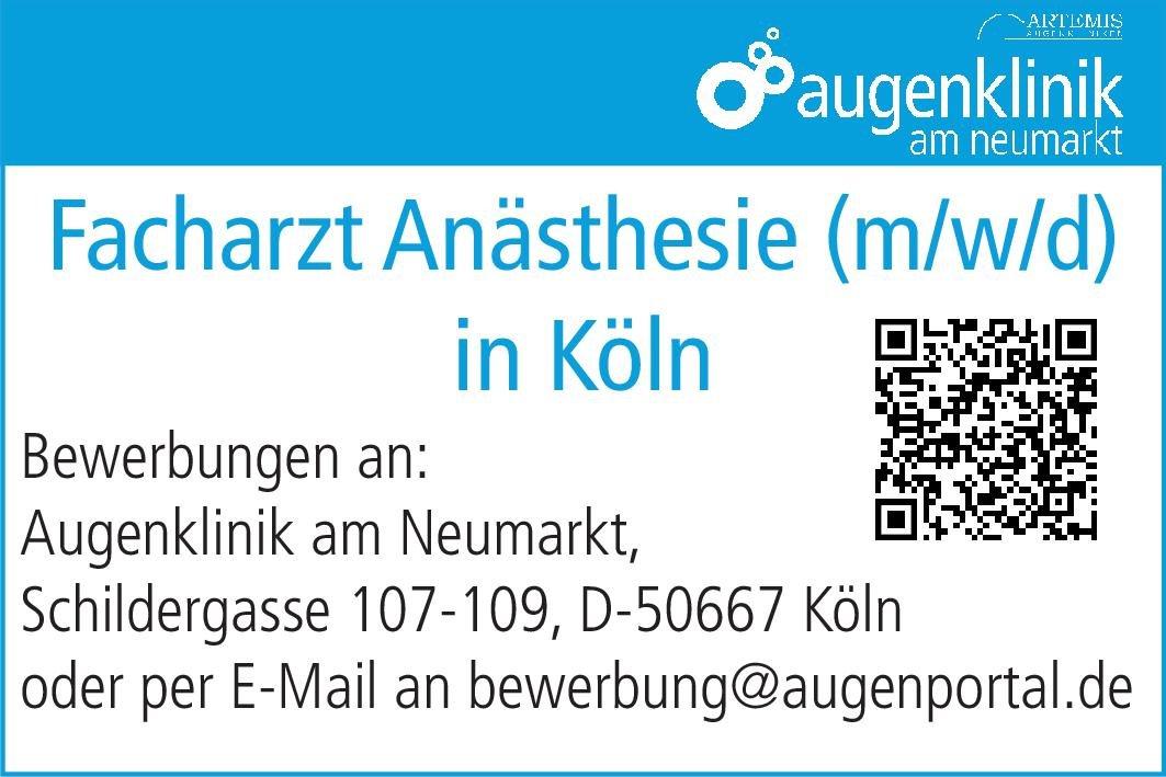 Augenklinik am Neumarkt Facharzt Anästhesie (m/w/d) Anästhesiologie / Intensivmedizin Arzt / Facharzt