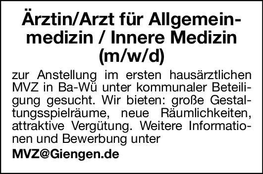 MVZ Ärztin/Arzt für Allgemeinmedizin/ Innere Medizin (m/w/d)  Innere Medizin, Allgemeinmedizin, Innere Medizin Arzt / Facharzt