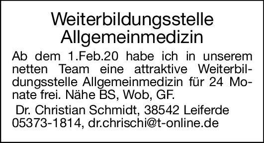 Dr. Christian Schmidt Weiterbildungsstelle Allgemeinmedizin Allgemeinmedizin Assistenzarzt / Arzt in Weiterbildung