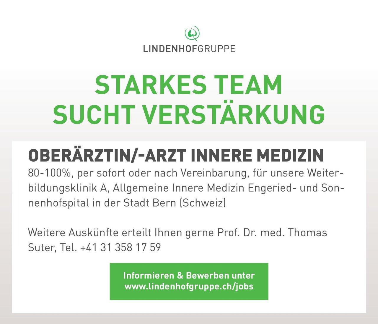 Lindenhofgruppe Oberärztin/-arzt Innere Medizin  Innere Medizin, Innere Medizin Oberarzt