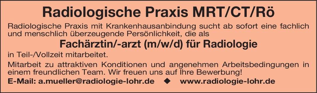 Radiologische Praxis MRT/CT/Rö Fachärztin/-arzt (m/w/d) für Radiologie  Radiologie, Radiologie Arzt / Facharzt