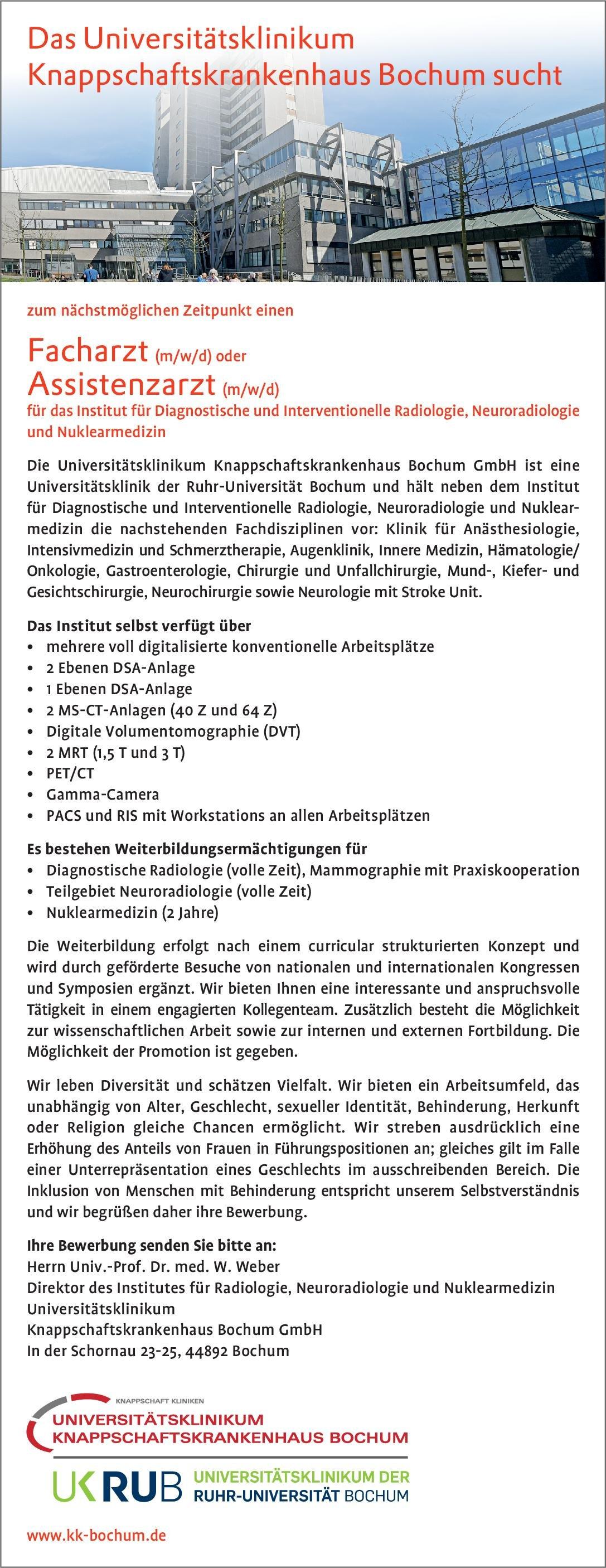 Universitätsklinikum Knappschaftskrankenhaus Bochum Facharzt (m/w/d) oder Assistenzarzt (m/w/d) für das Institut für Diagnostische und Interventionelle Radiologie, Neuroradiologie und Nuklearmedizin  Neuroradiologie, Radiologie, Nuklearmedizin Arzt / Facharzt, Assistenzarzt / Arzt in Weiterbildung