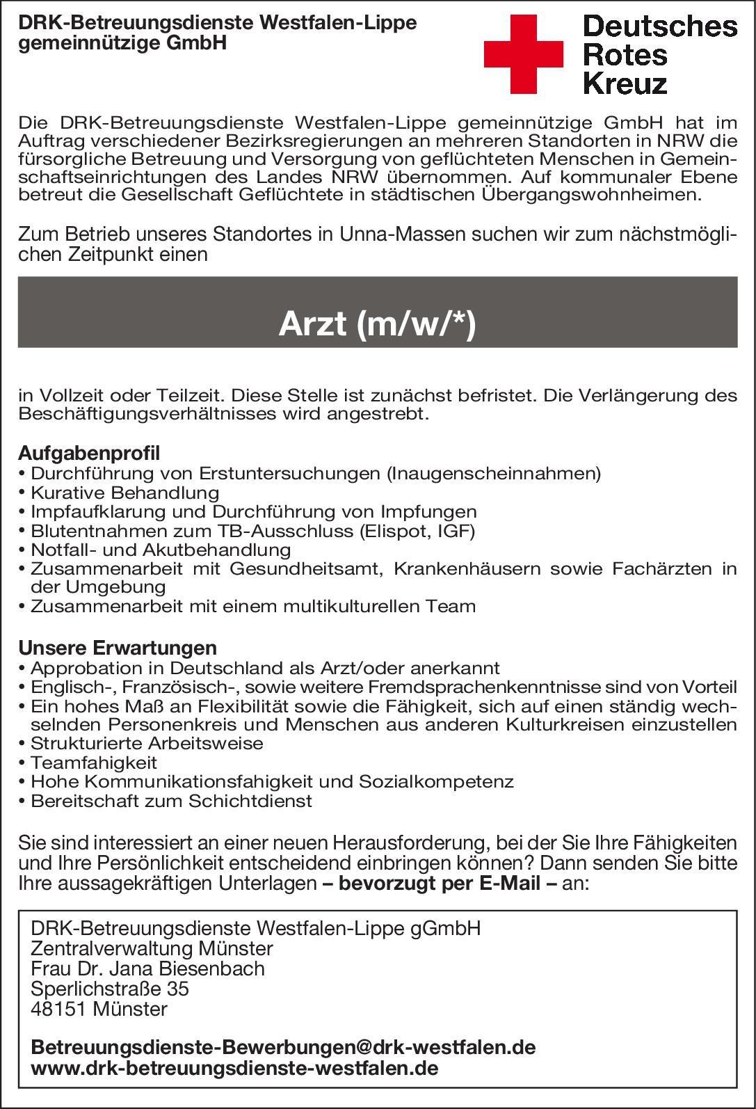 DRK-Betreuungsdienste Westfalen-Lippe gGmbH Arzt (m/w/*) * ohne Gebiete Arzt / Facharzt
