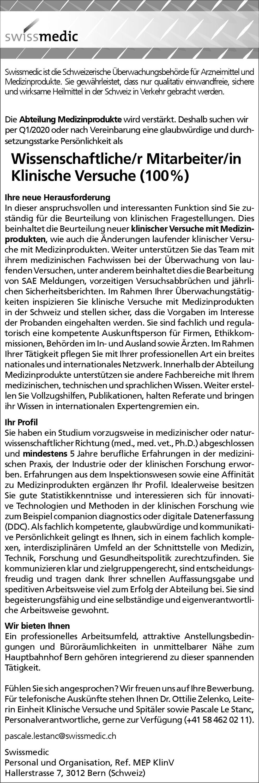 Swissmedic Wissenschaftliche/r Mitarbeiter/in Klinische Versuche (100%) * ohne Gebiete Med.-Wiss. Mitarbeiter