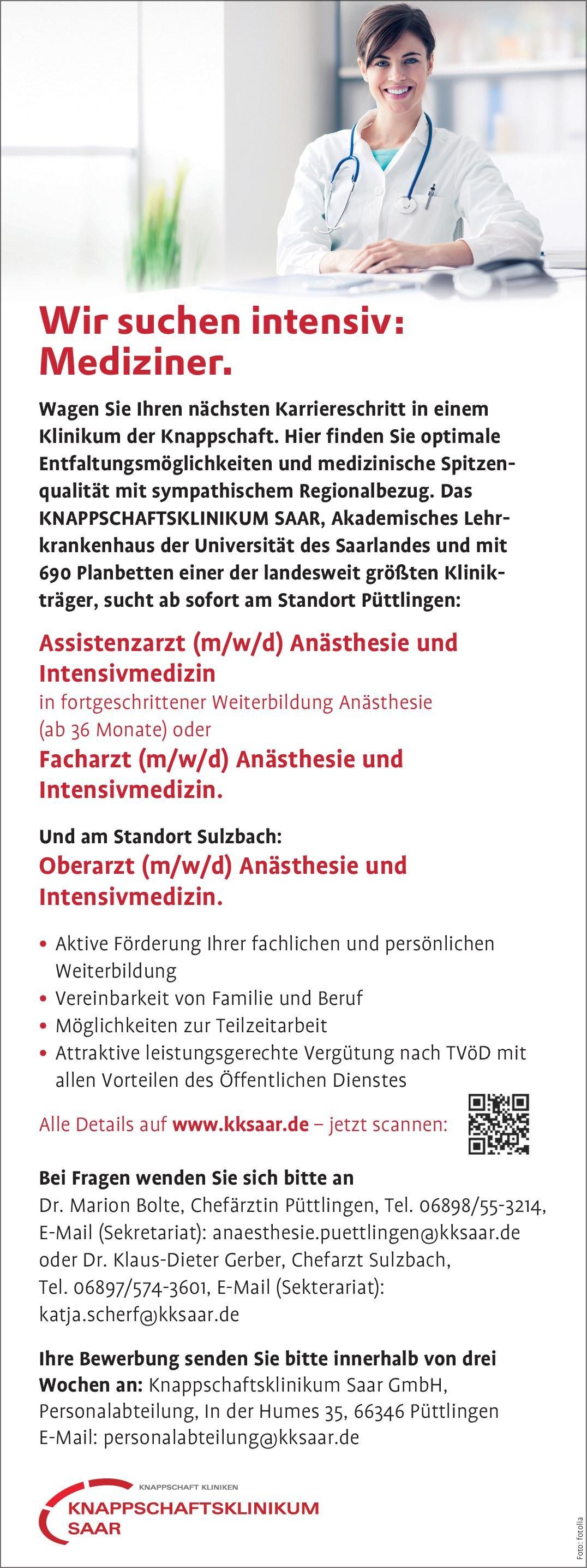 KNAPPSCHAFTSKLINIKUM SAAR Oberarzt (m/w/d) Anästhesie und Intensivmedizin Anästhesiologie / Intensivmedizin Oberarzt