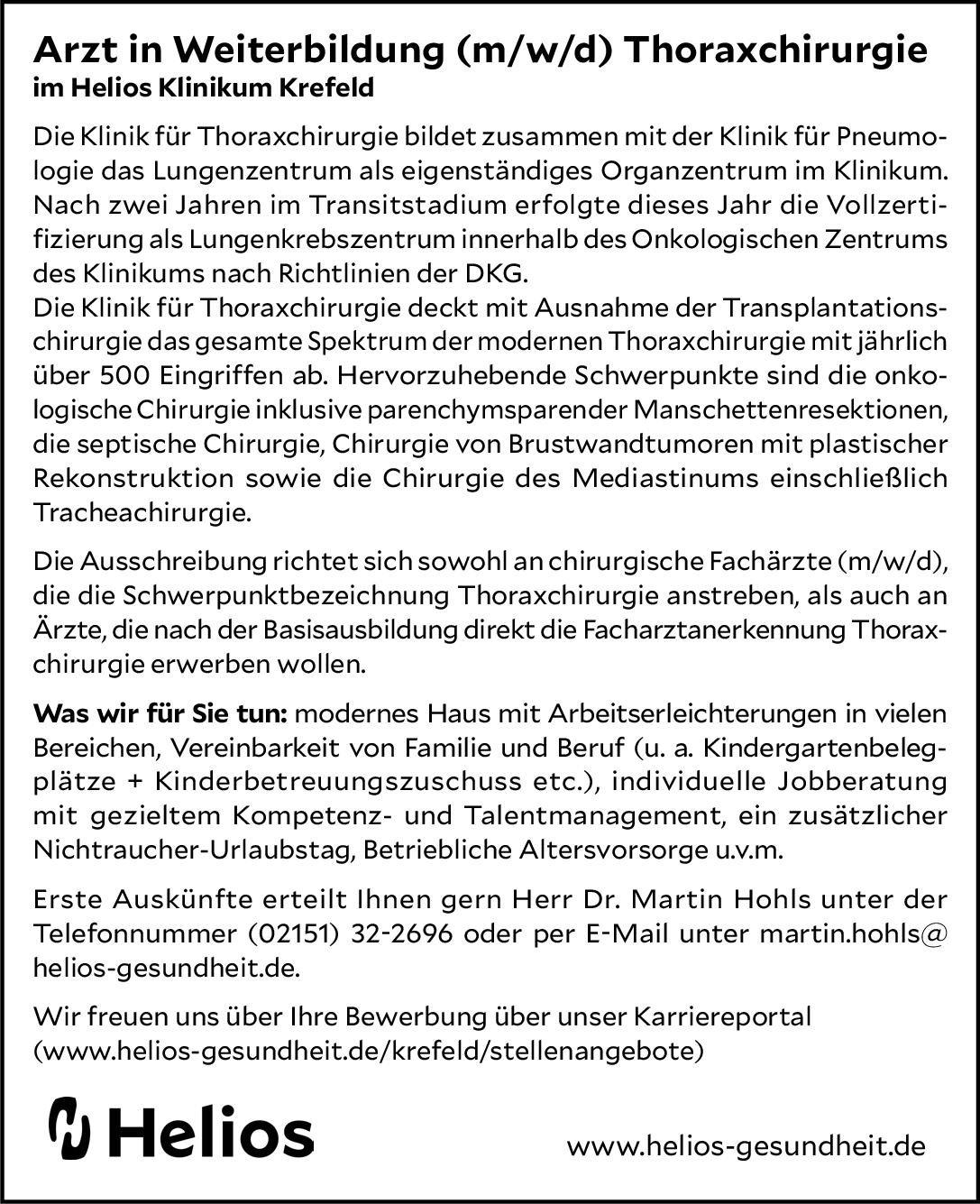 Helios Klinikum Krefeld Arzt in Weiterbildung (m/w/d) Thoraxchirurgie  Thoraxchirurgie, Chirurgie Assistenzarzt / Arzt in Weiterbildung