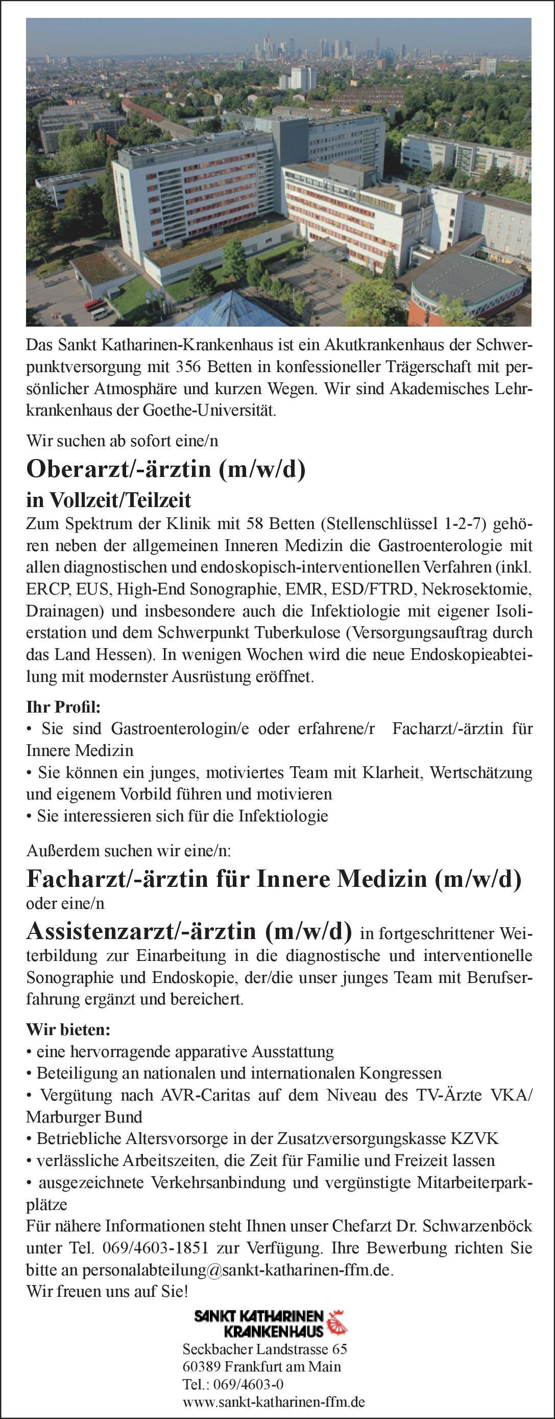 Sankt Katharinen Krankenhaus Oberarzt/-ärztin (m/w/d) für Innere Medizin  Innere Medizin und Gastroenterologie, Innere Medizin Oberarzt