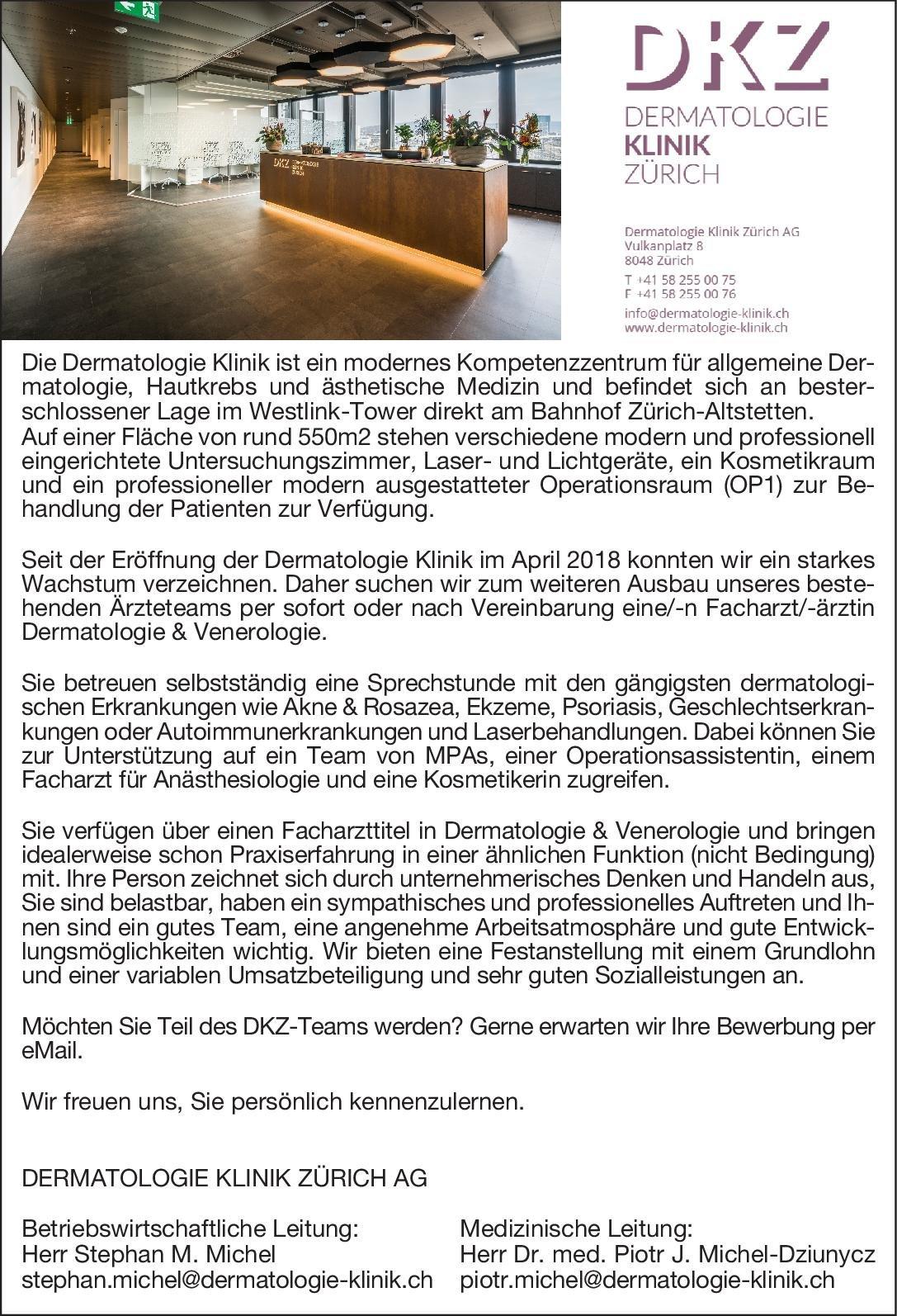Dermatologie Klinik Zürich AG Facharzt/-ärztin Dermatologie & Venerologie Haut- und Geschlechtskrankheiten Arzt / Facharzt