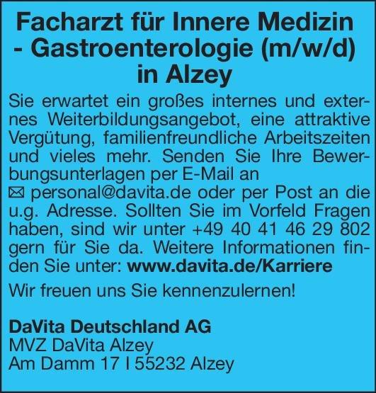 DaVita Deutschland AG - MVZ DaVita Alzey Facharzt für Innere Medizin - Gastroenterologie (m/w/d)  Innere Medizin und Gastroenterologie, Innere Medizin Arzt / Facharzt