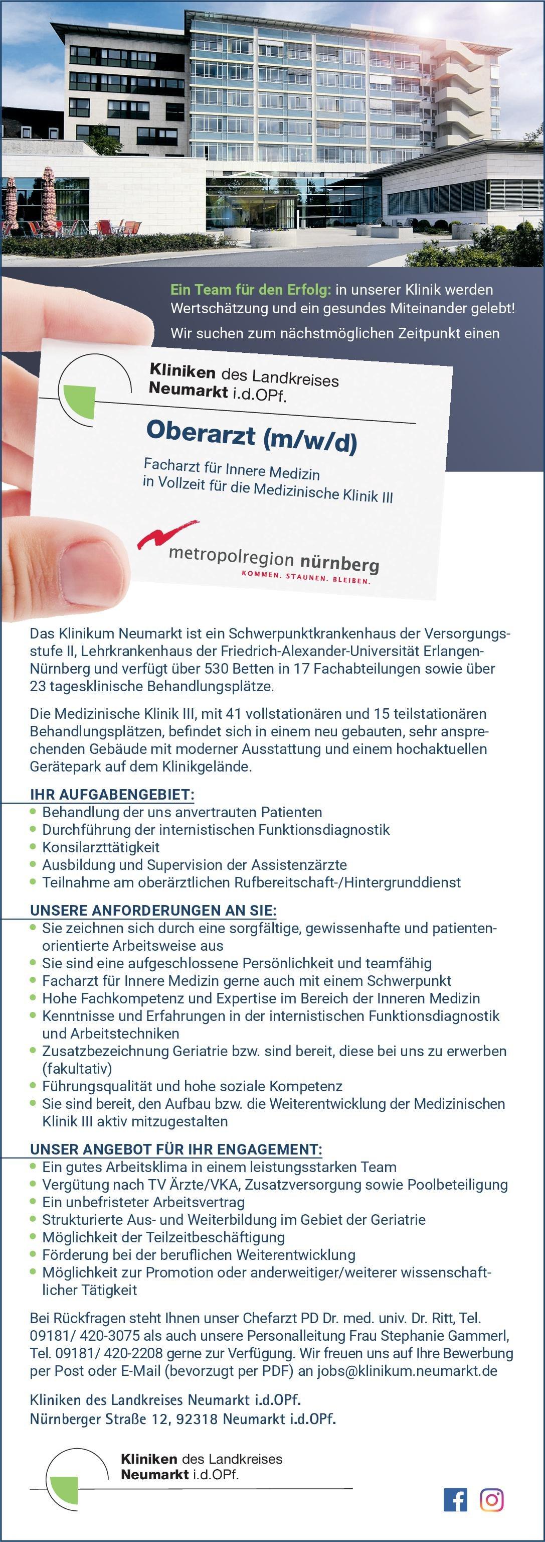 Kliniken des Landkreises Neumarkt i.d.OPf. Oberarzt (m/w/d) - Facharzt für Innere Medizin  Innere Medizin, Innere Medizin Arzt / Facharzt, Oberarzt