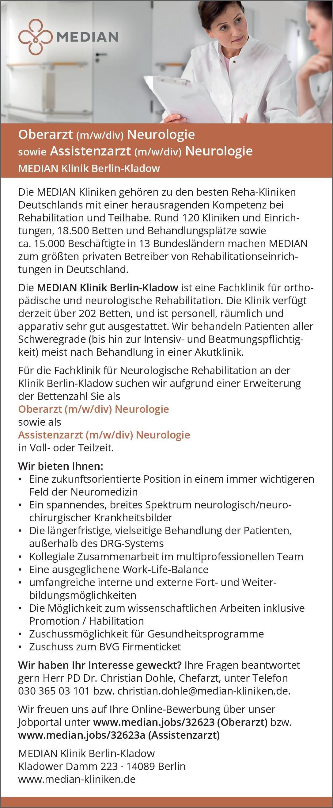 MEDIAN Klinik Berlin-Kladow Assistenzarzt (m/w/div) Neurologie Neurologie Assistenzarzt / Arzt in Weiterbildung