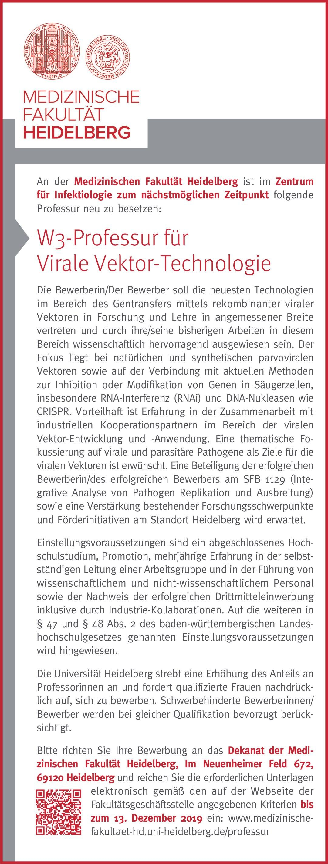 Medizinischen Fakultät Heidelberg W3-Professur für Virale Vektor-Technologie Klinische Forschung Professor