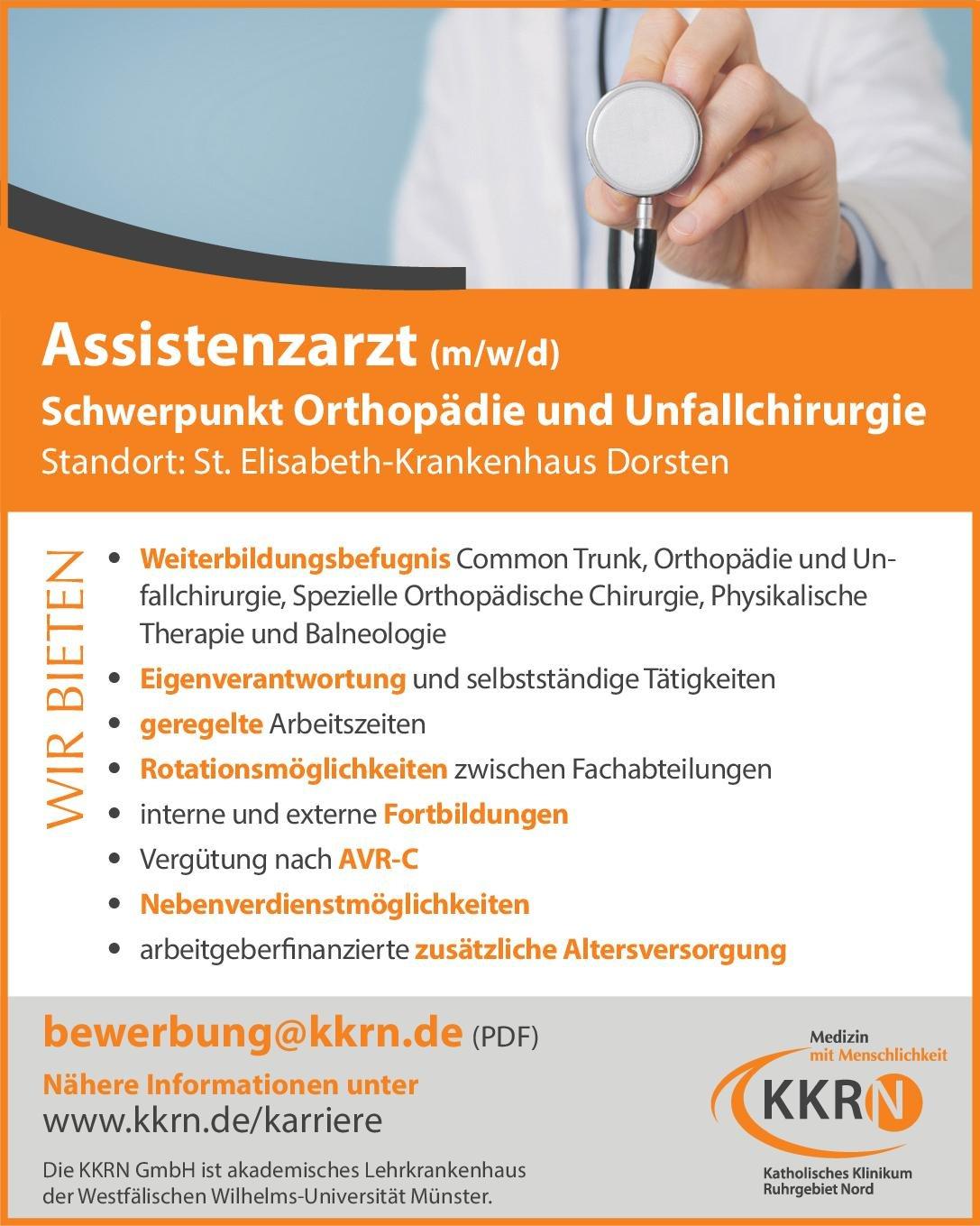 St. Elisabeth-Krankenhaus Dorsten Assistenzarzt (m/w/d) Schwerpunkt Orthopädie und Unfallchirurgie  Orthopädie und Unfallchirurgie, Chirurgie Assistenzarzt / Arzt in Weiterbildung