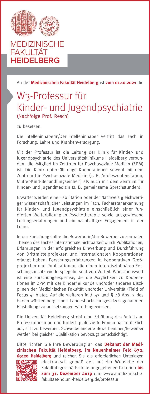 Medizinischen Fakultät Heidelberg W3-Professur für Kinder- und Jugendpsychiatrie Kinder- und Jugendpsychiatrie und -psychotherapie Professor