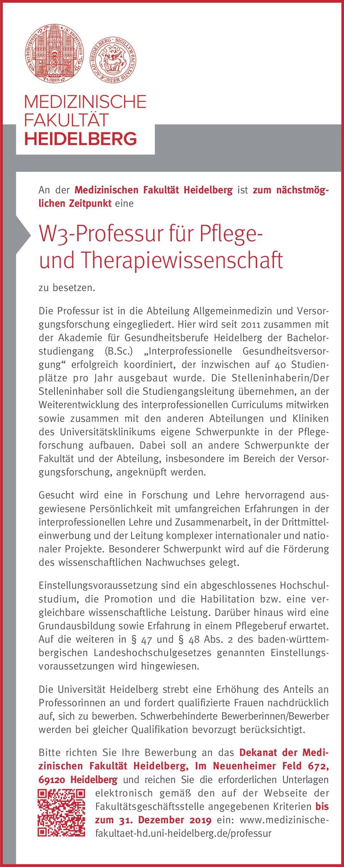 Medizinischen Fakultät Heidelberg W3-Professur für Pflege- und Therapiewissenschaft Allgemeinmedizin Professor