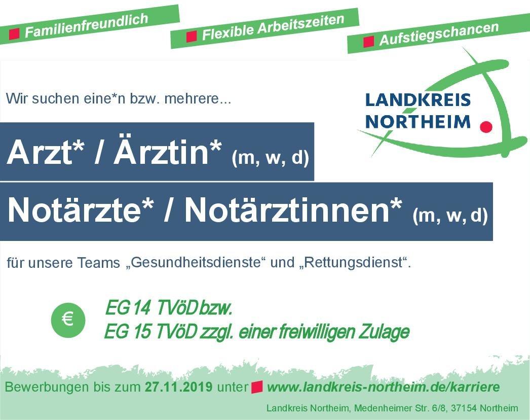 Landkreis Northeim Arzt* / Ärztin* (m, w, d) * ohne Gebiete Arzt / Facharzt