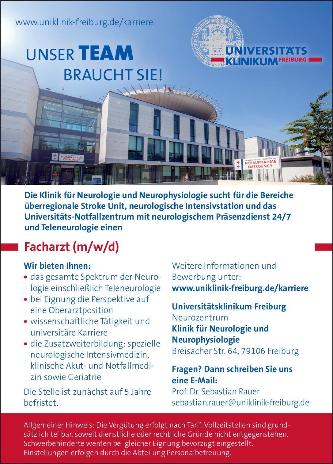 Universitätsklinikum Freiburg Facharzt (m/w/d) für Neurologie und Neurophysiologie Neurologie Arzt / Facharzt