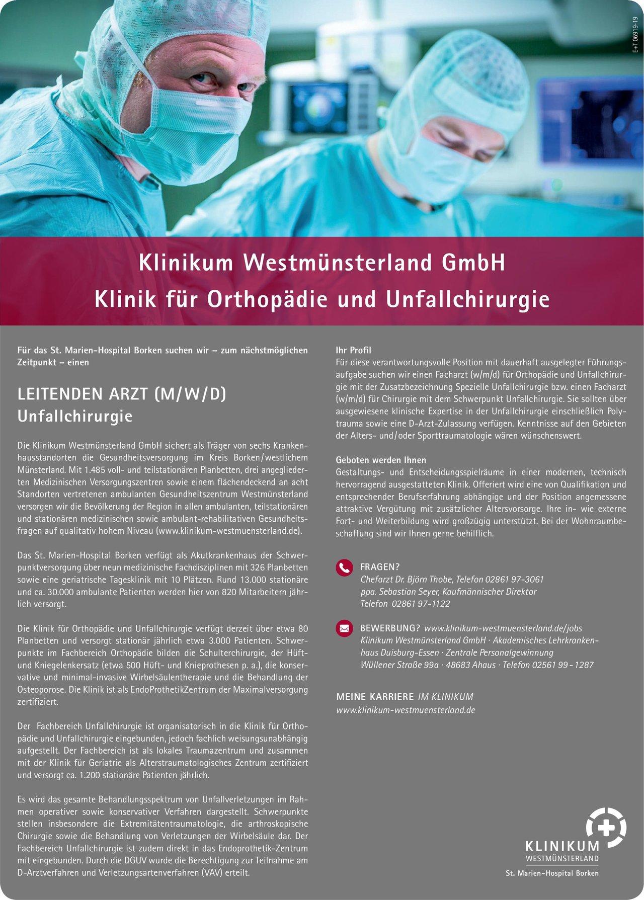 Klinikum Westmünsterland GmbH · Leitender Arzt (m/w/d) Unfallchirurgie  Orthopädie und Unfallchirurgie, Chirurgie Ärztl. Leiter