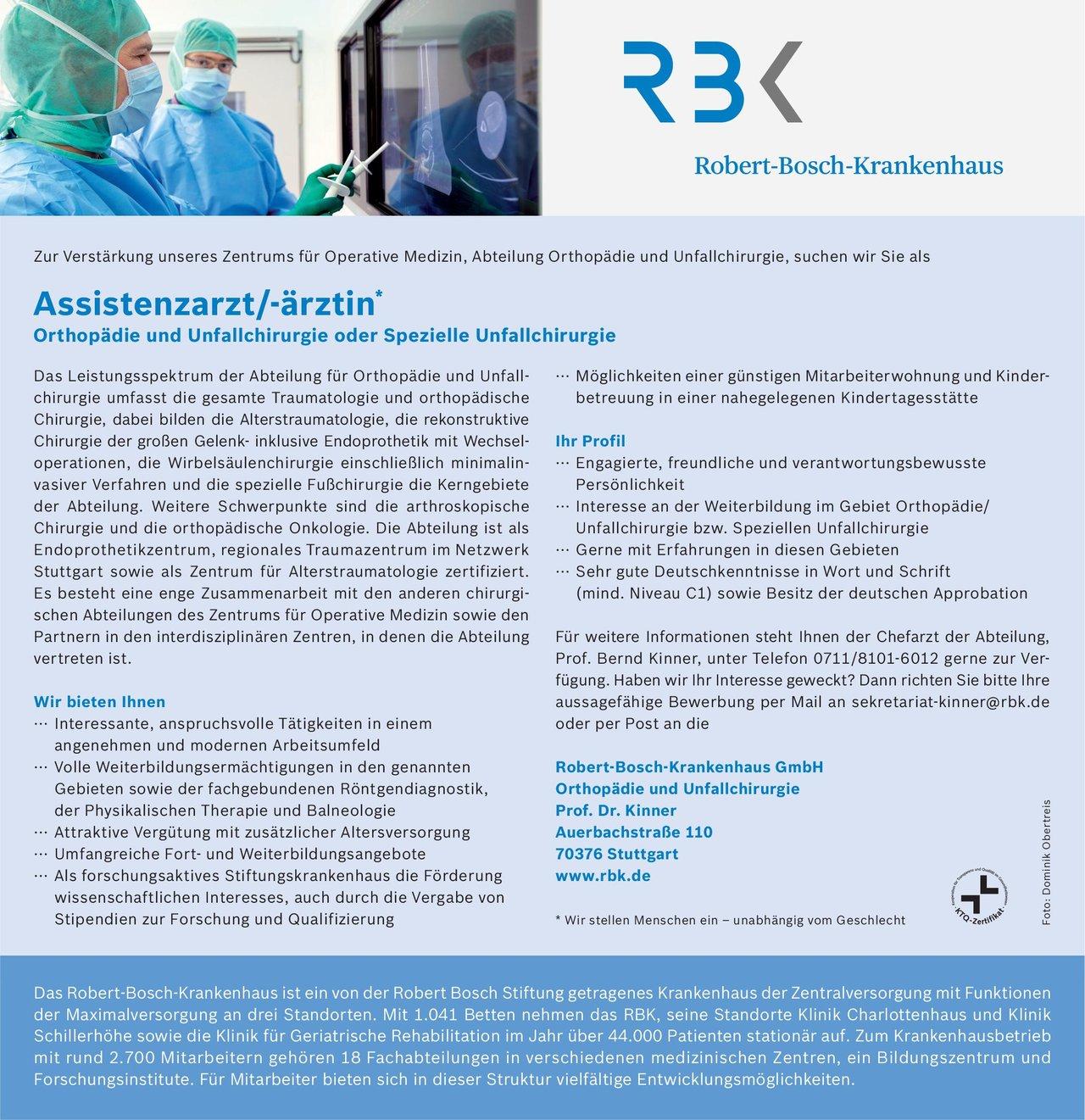 Robert-Bosch-Krankenhaus GmbH Assistenzarzt/-ärztin* Orthopädie und Unfallchirurgie oder Spezielle Unfallchirurgie  Orthopädie und Unfallchirurgie, Chirurgie Assistenzarzt / Arzt in Weiterbildung