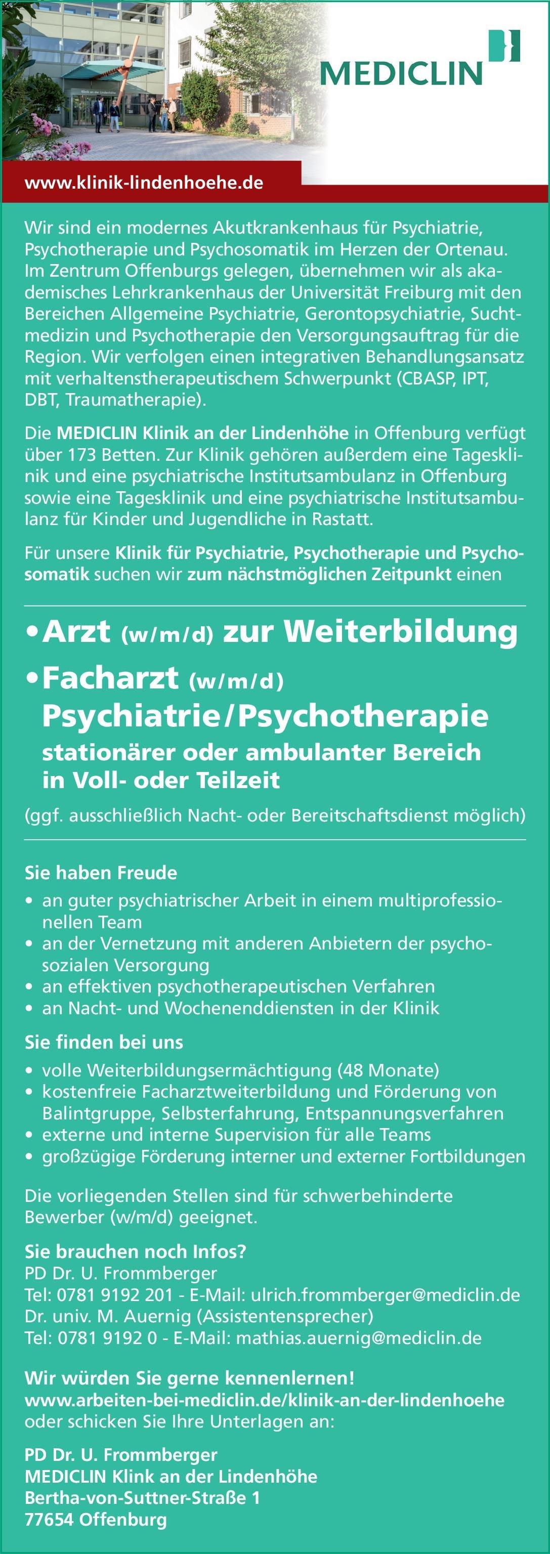 MEDICLIN Klink an der Lindenhöhe Arzt (w/m/d) zur Weiterbildung Psychiatrie, Psychotherapie und Psychosomatik  Psychiatrie und Psychotherapie, Psychiatrie und Psychotherapie, Psychosomatische Medizin und Psychotherapie Assistenzarzt / Arzt in Weiterbildung