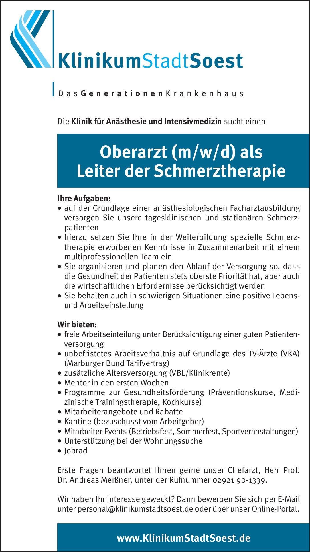 Klinikum Stadt Soest Oberarzt (m/w/d) als Leiter der Schmerztherapie Anästhesiologie / Intensivmedizin Ärztl. Leiter, Oberarzt