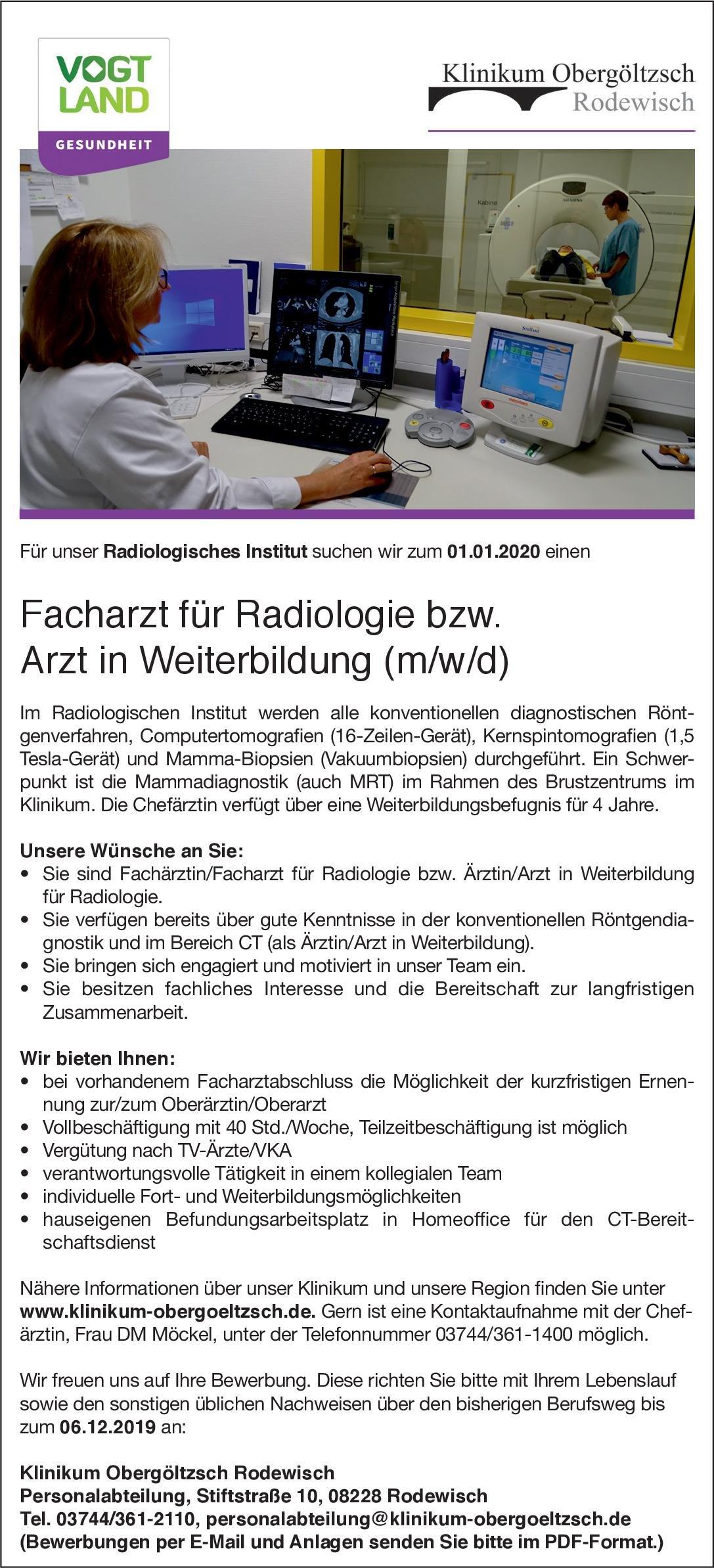Klinikum Obergöltzsch Rodewisch Facharzt für Radiologie bzw. Arzt in Weiterbildung (m/w/d)  Radiologie, Radiologie Arzt / Facharzt, Assistenzarzt / Arzt in Weiterbildung