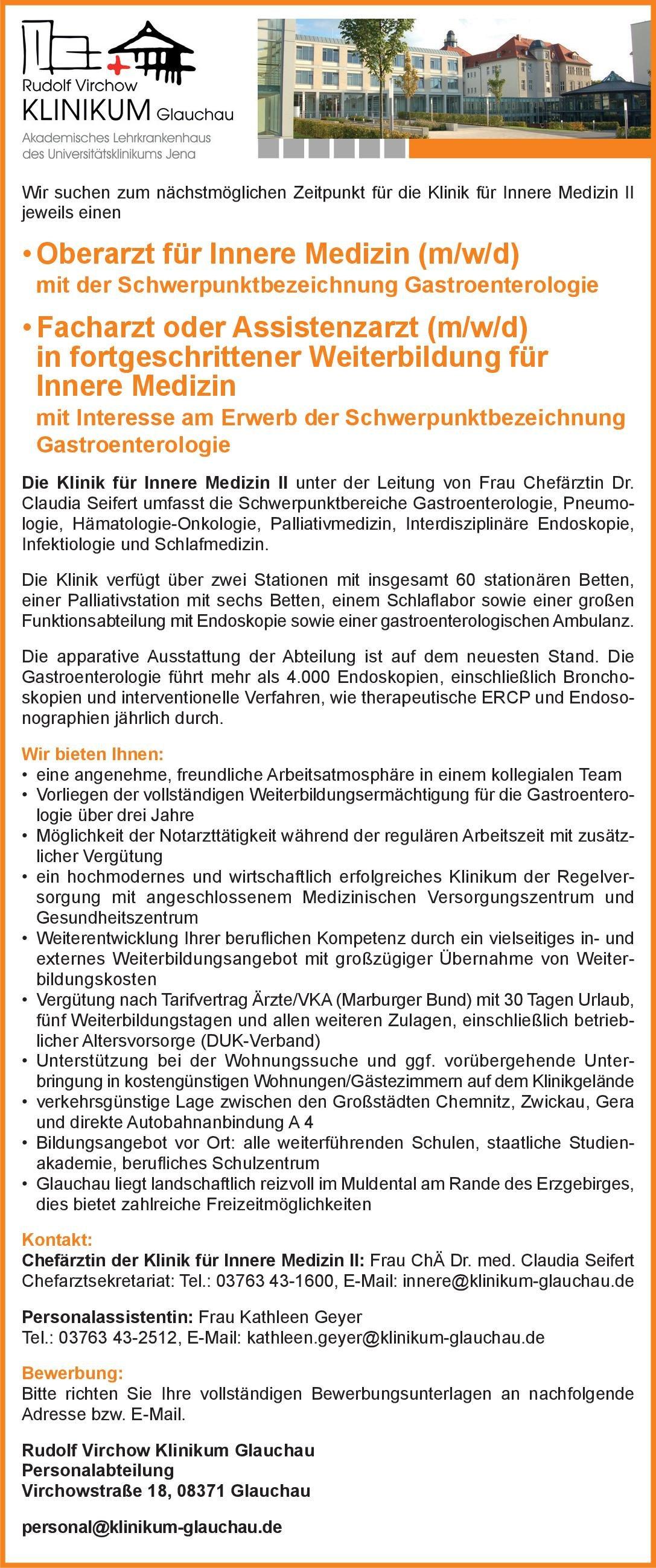 Rudolf Virchow Klinikum Glauchau Oberarzt für Innere Medizin (m/w/d) mit der Schwerpunktbezeichnung Gastroenterologie  Innere Medizin und Gastroenterologie, Innere Medizin Oberarzt