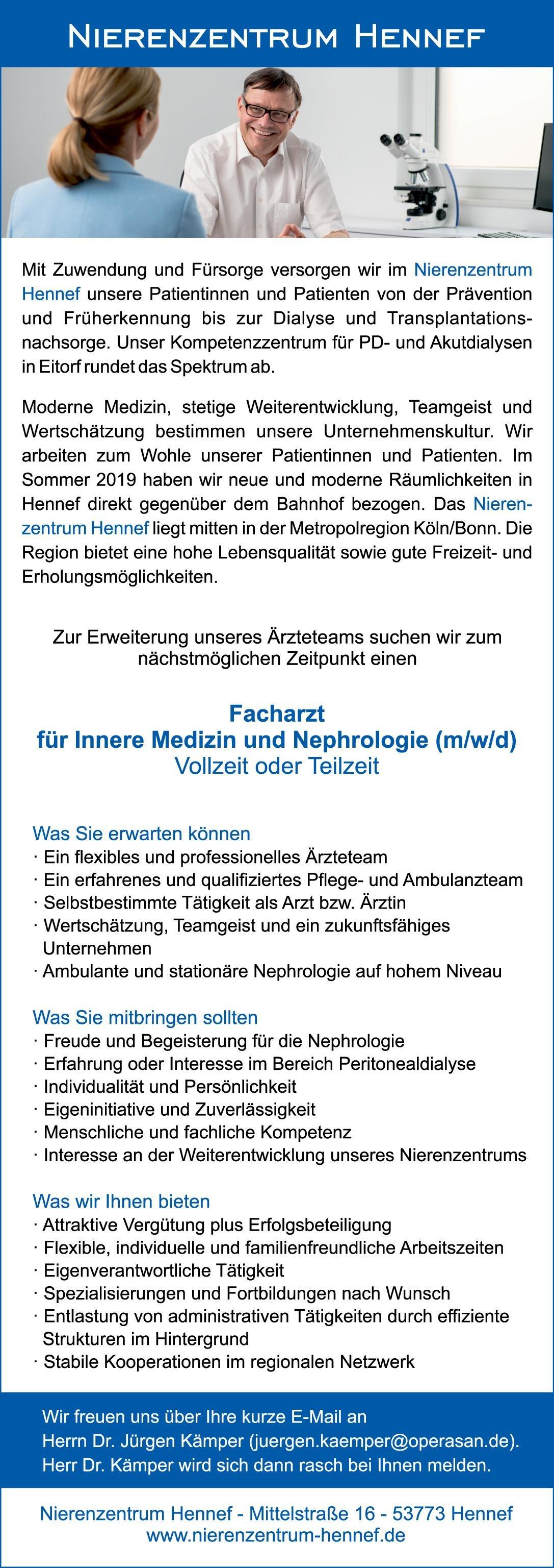 Nierenzentrum Hennef Facharzt für Innere Medizin und Nephrologie (m/w/d)  Innere Medizin und Nephrologie, Innere Medizin Arzt / Facharzt