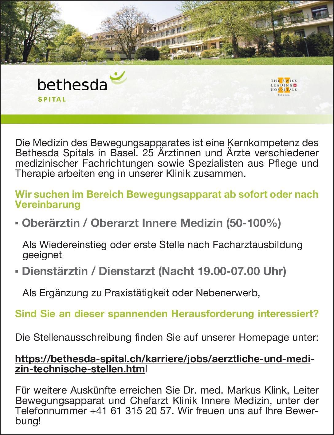 Bethesda -Spital AG Dienstärztin / Dienstarzt (Nacht 19.00-07.00 Uhr)  Innere Medizin, Innere Medizin Arzt / Facharzt
