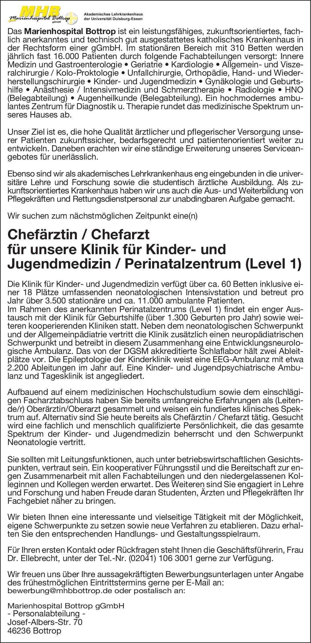 Marienhospital Bottrop gGmbH Chefärztin/Chefarzt für unsere Klinik für Kinder- und Jugendmedizin/Perinatalzentrum (Level 1)  Kinder- und Jugendmedizin, Kinder- und Jugendmedizin Chefarzt
