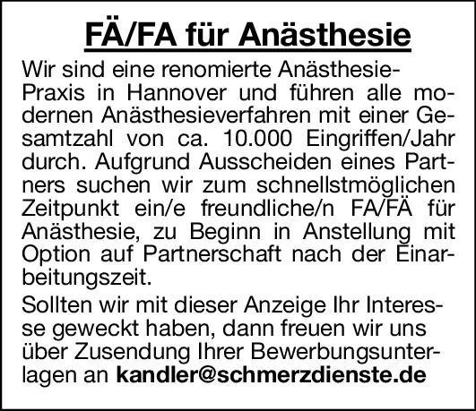 Praxis Fachärztin/ Facharzt Anästhesie Anästhesiologie / Intensivmedizin Arzt / Facharzt