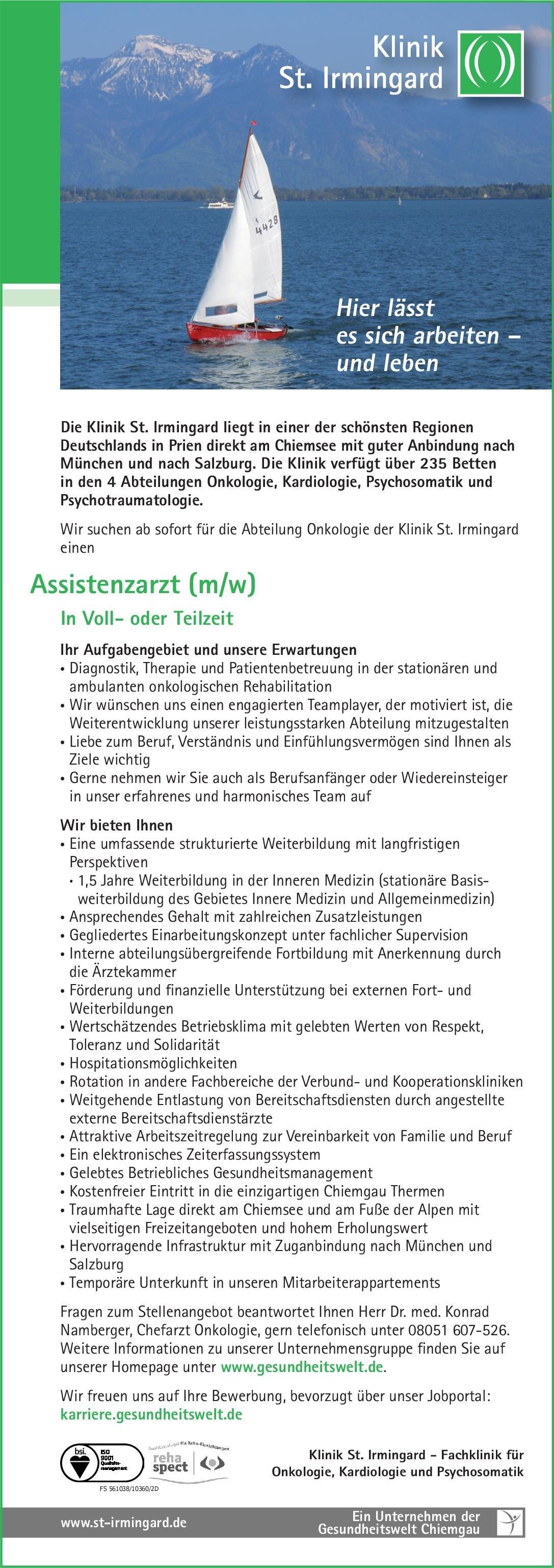 Klinik St. Irmingard Assistenzarzt (m/w) Onkologie  Innere Medizin und Hämatologie und Onkologie, Innere Medizin Assistenzarzt / Arzt in Weiterbildung
