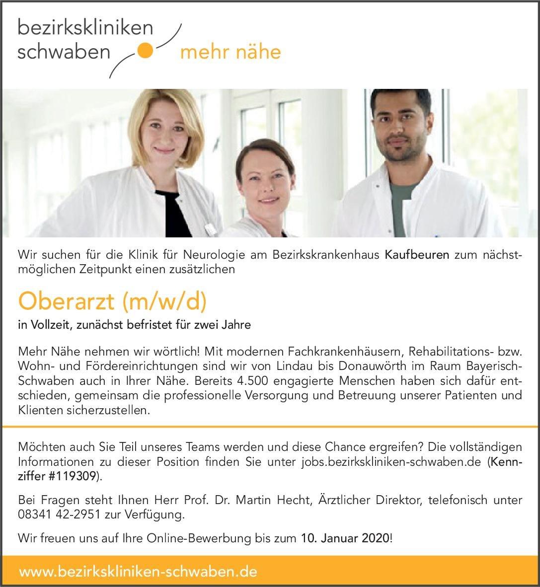 Bezirkskliniken Schwaben Oberarzt (m/w/d) Neurologie Neurologie Oberarzt