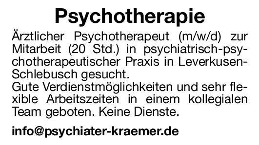 Praxis Ärztlicher Psychotherapeut (m/w/d) Psychotherapeutische Medizin Arzt / Facharzt