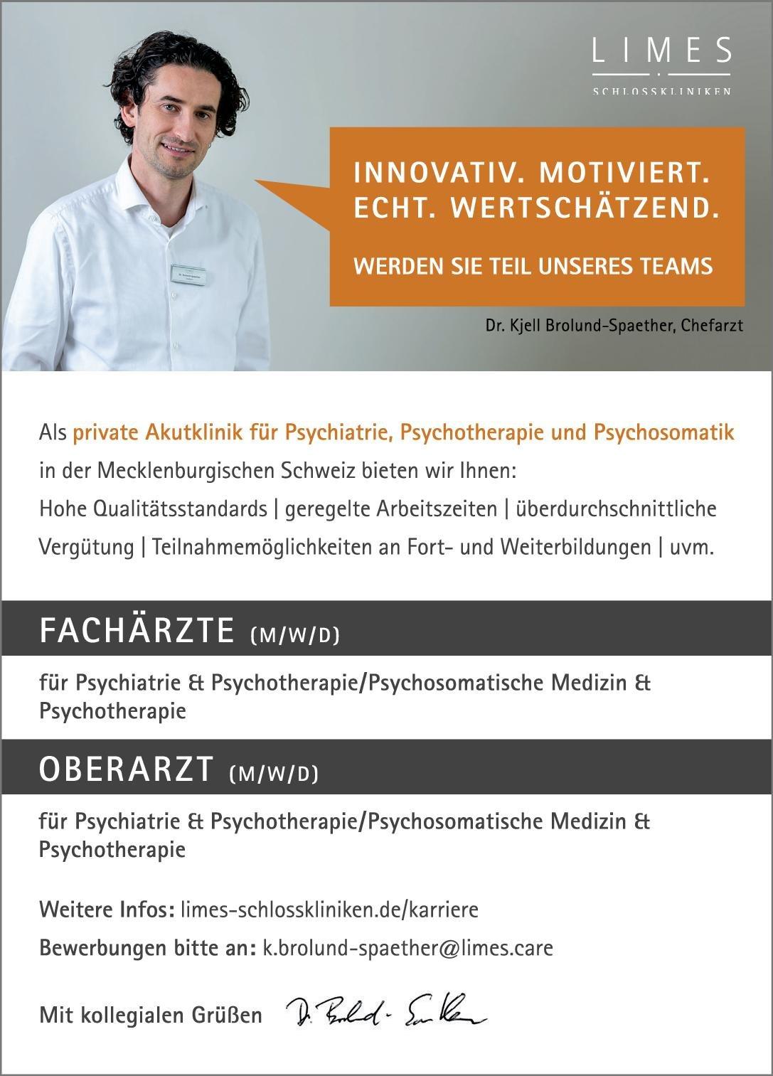 Limes Schlossklinik Rostocker Land Oberärzte (m/w/d) für Psychiatrie & Psychotherapie/Psychosomatische Medizin & Psychotherapie  Psychiatrie und Psychotherapie, Psychiatrie und Psychotherapie, Psychosomatische Medizin und Psychotherapie Oberarzt