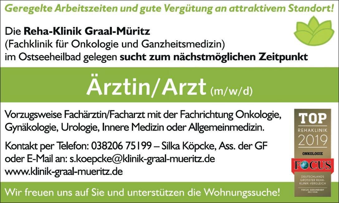 Onkologische Reha-Klinik Graal-Müritz Ärztin/Arzt  Frauenheilkunde und Geburtshilfe, Innere Medizin und Hämatologie und Onkologie, Allgemeinmedizin Arzt / Facharzt