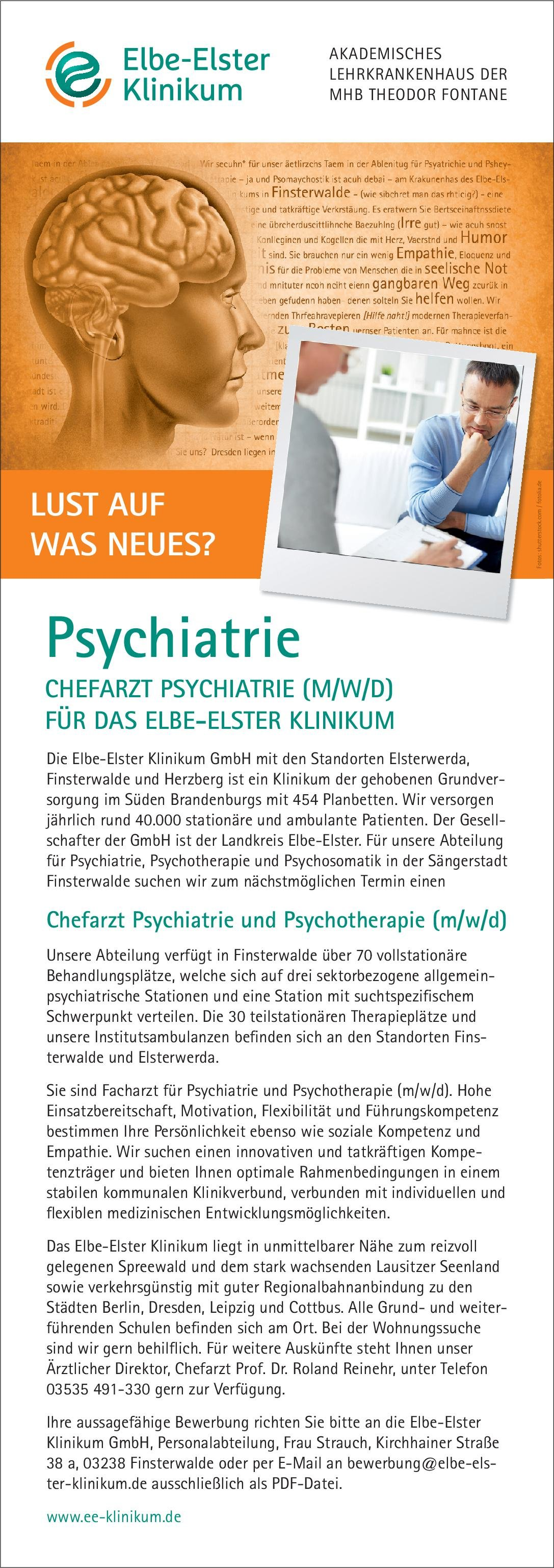 Elbe-Elster Klinikum Chefarzt ( m/w/d) für Psychiatrie  Psychiatrie und Psychotherapie, Psychiatrie und Psychotherapie Chefarzt