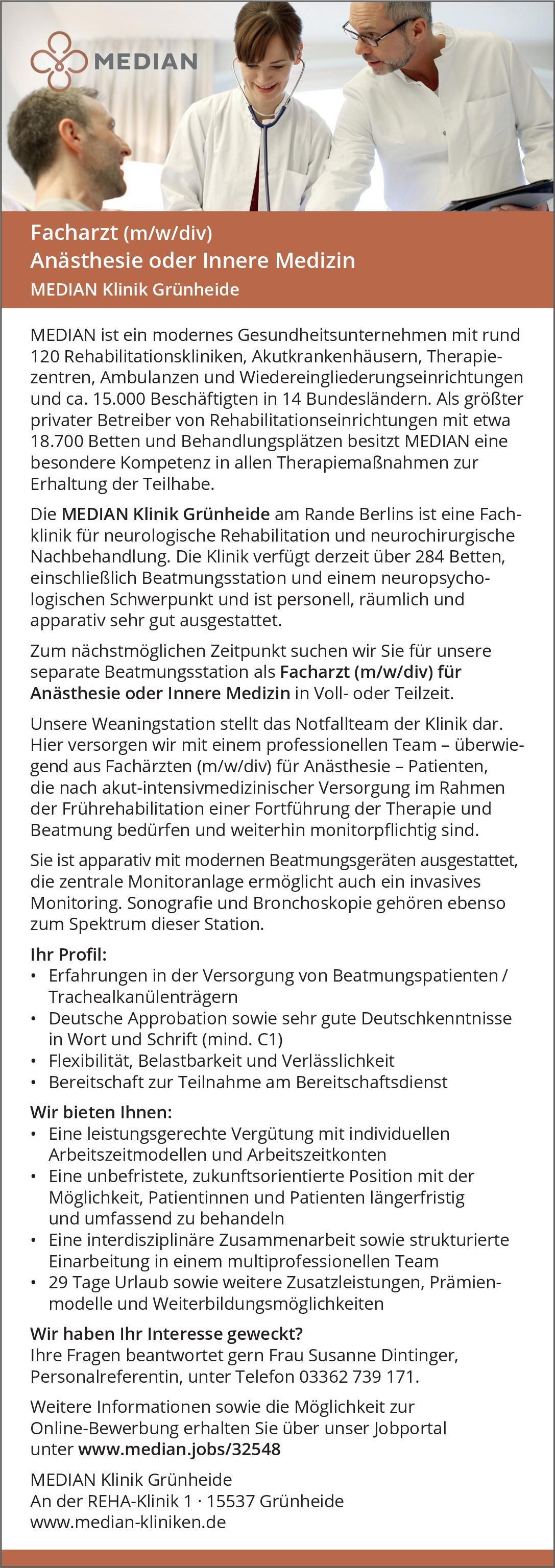MEDIAN Klinik Grünheide Facharzt (m/w/div) Anästhesie oder Innere Medizin  Innere Medizin, Anästhesiologie / Intensivmedizin, Innere Medizin Arzt / Facharzt