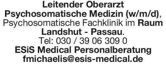 ESiS Medical Personalberatung Leitender Oberarzt Psychosomatische Medizin (w/m/d) Psychosomatische Medizin und Psychotherapie Oberarzt