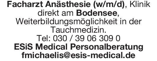ESiS Medical Personalberatung Facharzt Anästhesie (w/m/d) Anästhesiologie / Intensivmedizin Arzt / Facharzt