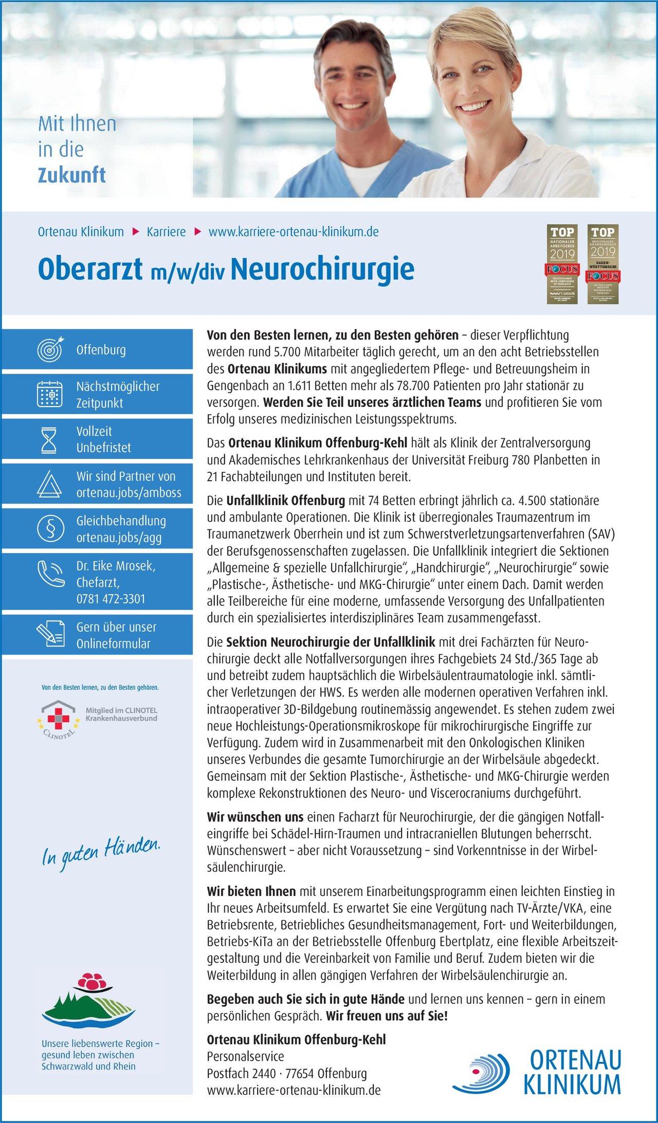 Ortenau Klinikum Offenburg-Kehl Oberarzt m/w/div Neurochirurgie Neurochirurgie Oberarzt