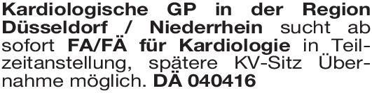 Kardiologische Gemeinschaftspraxis Facharzt/Fachärztin Kardiologie  Innere Medizin und Kardiologie, Innere Medizin Arzt / Facharzt