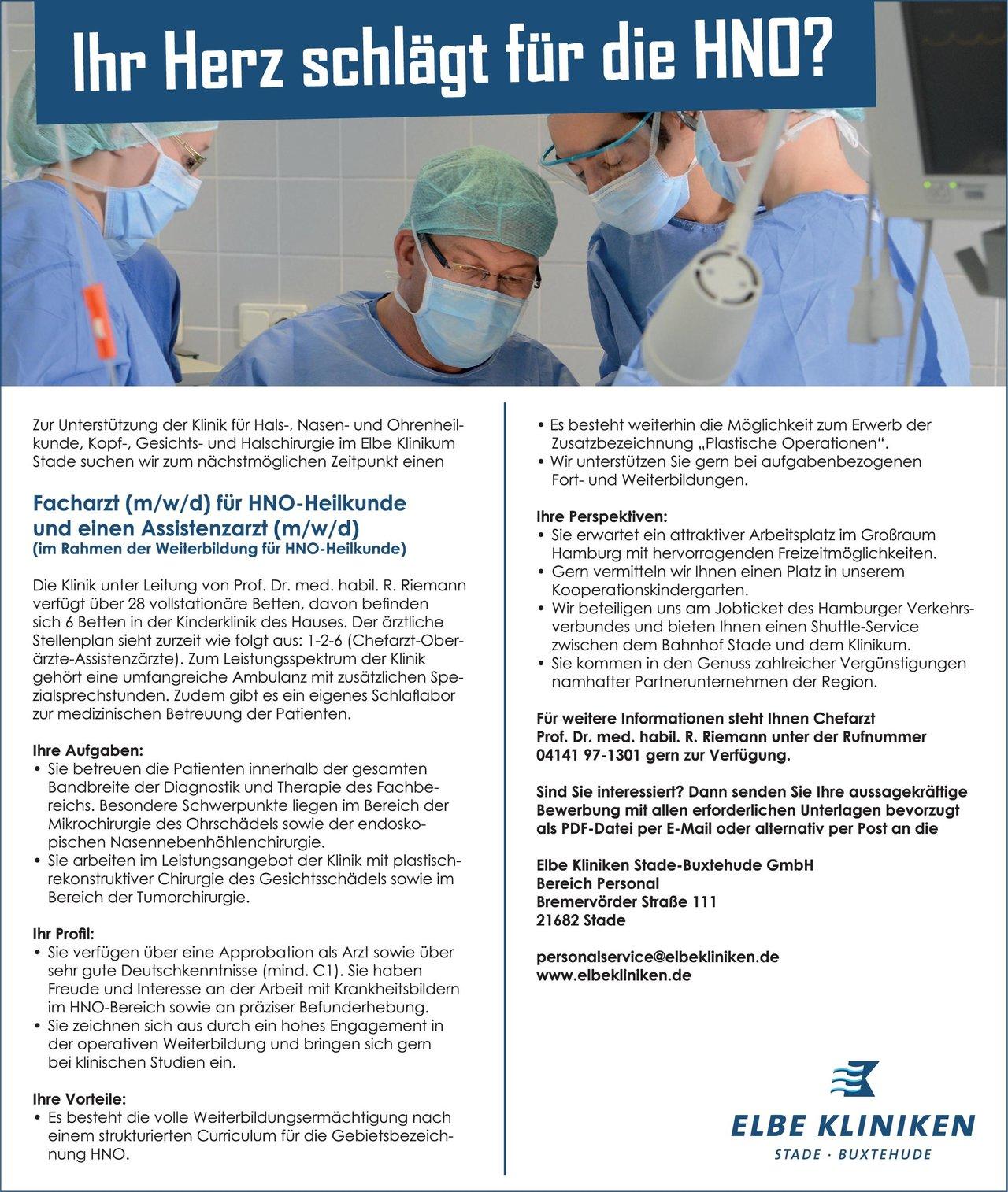 Elbe Kliniken Stade-Buxtehude GmbH Facharzt (m/w/d) für HNO-Heilkunde und einen Assistenzarzt (m/w/d)  Hals-Nasen-Ohrenheilkunde, Hals-Nasen-Ohrenheilkunde Arzt / Facharzt